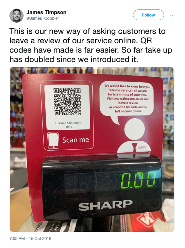 A tweet about QR codes by James Timpson