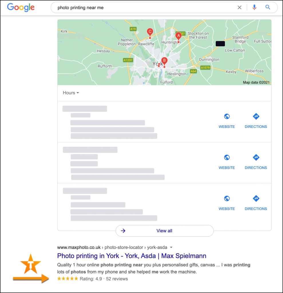 Stars in Google organic search results