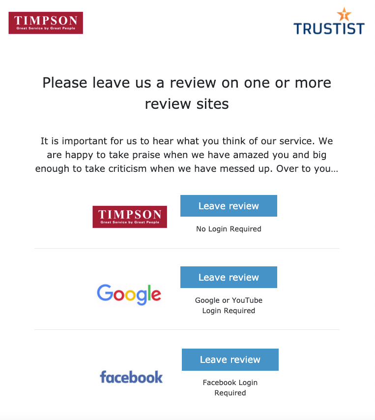 Timpson review collection screen
